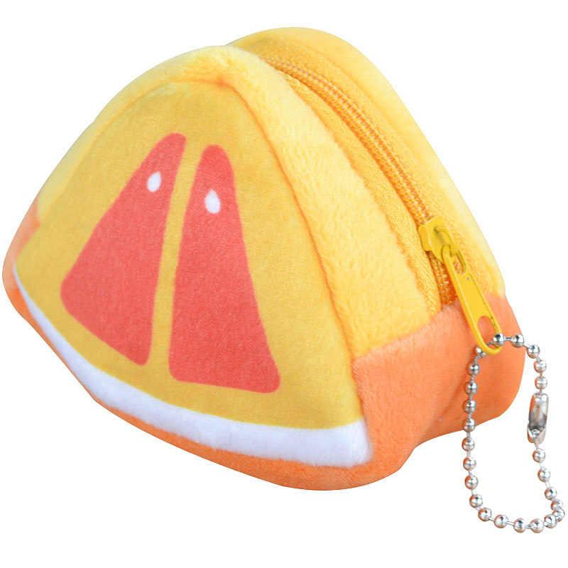 Coin Portemonnee Pop Pluche Purse Kaarten Toetsen Pouch Oortelefoon Lijn Houder Mini Gevulde Emulatie Fruit Rits Handtassen Voor Kinderen