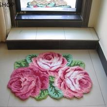LIU хорошее качество ручной работы Роза арт ковер/пол цветок Коврик для спальни/гостиной романтическая роза 80*60 см