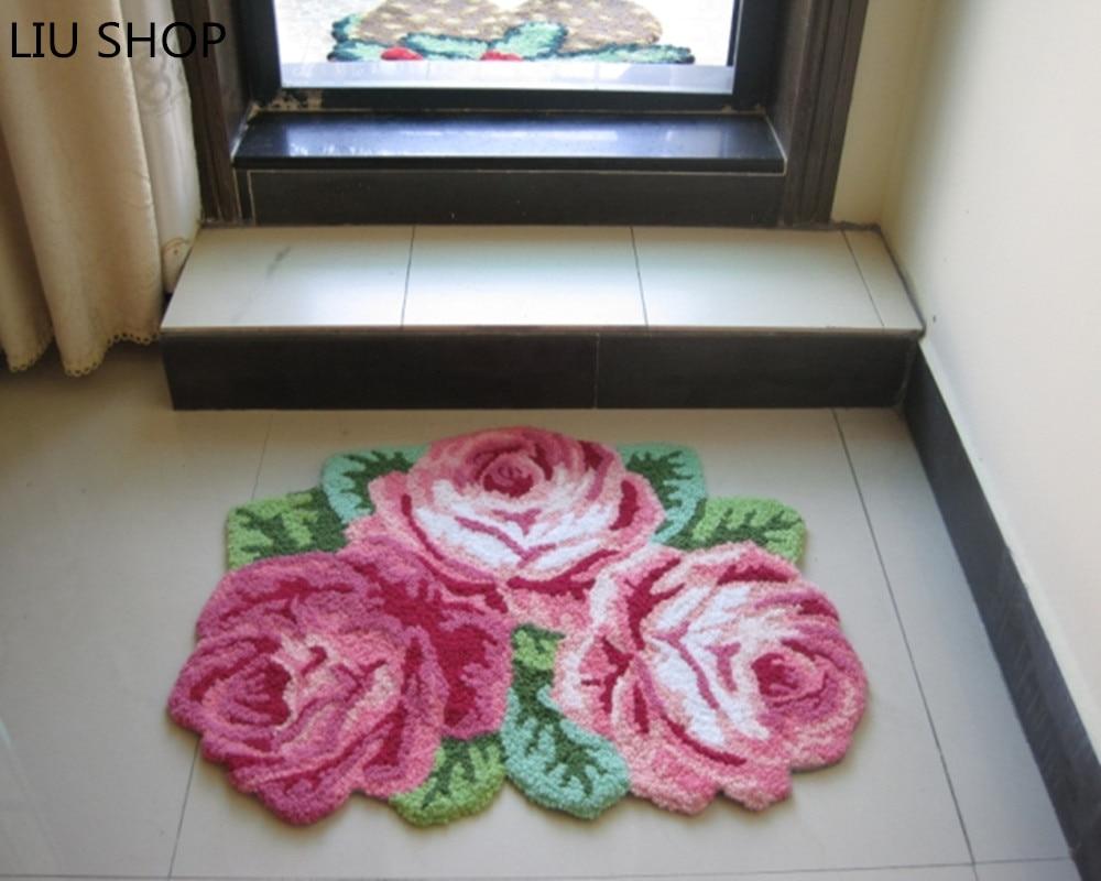LIU good quality handmade rose art carpet art rug/floor flower mat for bedroom/ Living room romantic rose 80*60cmLIU good quality handmade rose art carpet art rug/floor flower mat for bedroom/ Living room romantic rose 80*60cm