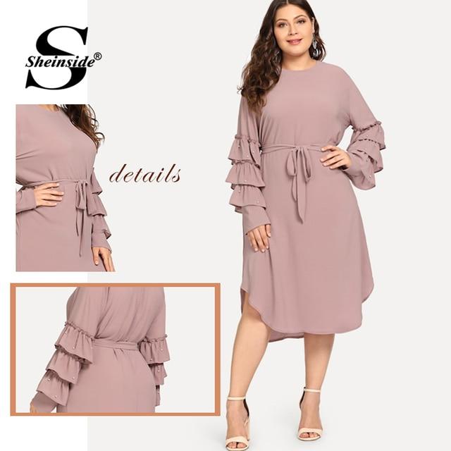 Sheinside Plus Size Layered Sleeve Pearls Beaded Dress Women 2019 Spring Elegant Flounce Sleeve Midi Dresses Ladies A Line Dress 4