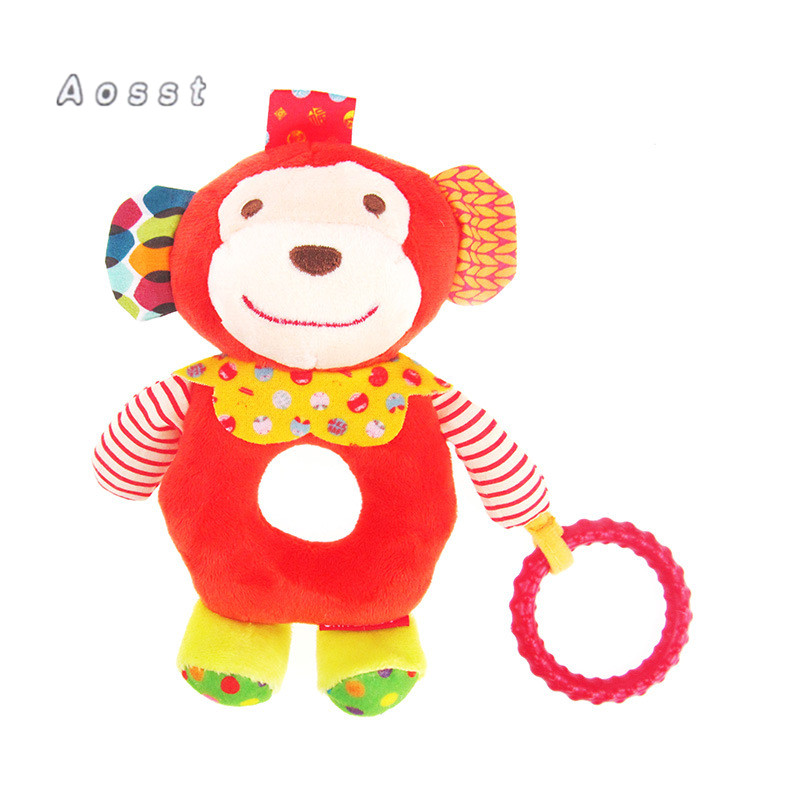 AOSST Lovely baby toy monkey forest animals like dogs round hand bell ring finger bell