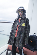 Fashion street HARAJUKU design Camouflage letter print zipper placketing loose medium-long polo outerwear bf