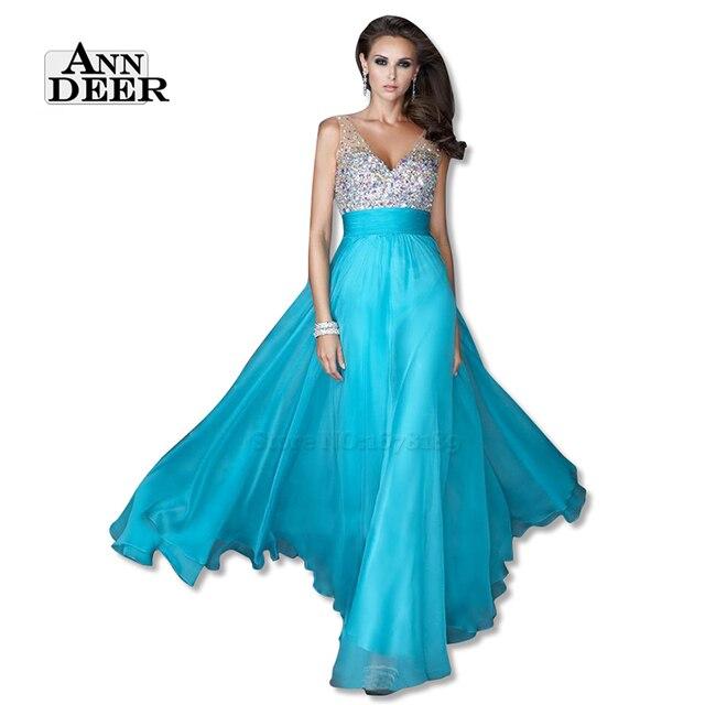 Ann deer s108 sexy backless profundo decote em v chiffon frisada longo do baile de finalistas vestidos 2017 a linha prom vestido formal party dress robe de soiree