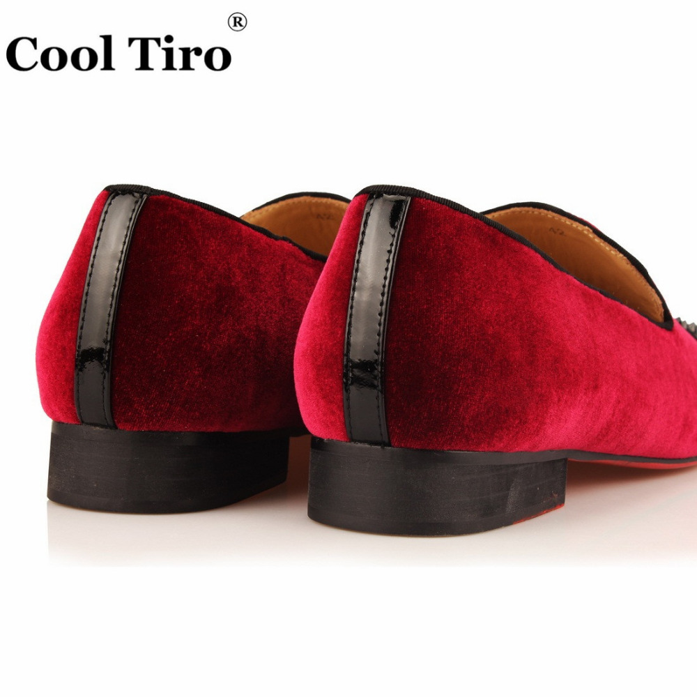 a879bae0a1b COOL TIRO Fashion Wine red Loafers Velour Spikes Smoking Slip-on Handmade  Flats men Black. sku  32825036066