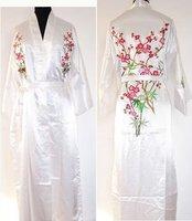 החדש הלבן סיני שמלת חידוש רקום הלבשת חלוק המשי של נשים קימונו יאקאטה שמלת פרחי sml xl xxl xxxl W3S001