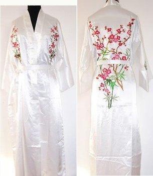 Blanco nuevo vestido de seda para Mujeres Chinas novedad camisón bordado Kimono Yukata vestido flor S M L XL XXL XXXL W3S001