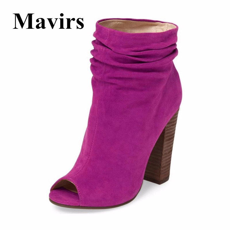 Mavirs Chunky High Heels Women Ankle Boots 2018 Autumn Faux Suede Peep Toe 12 CM Heel Black Blue Slouchy Shoes US Size 5-15 enmayla autumn winter chelsea ankle boots for women faux suede square toe high heels shoes woman chunky heels boots khaki black