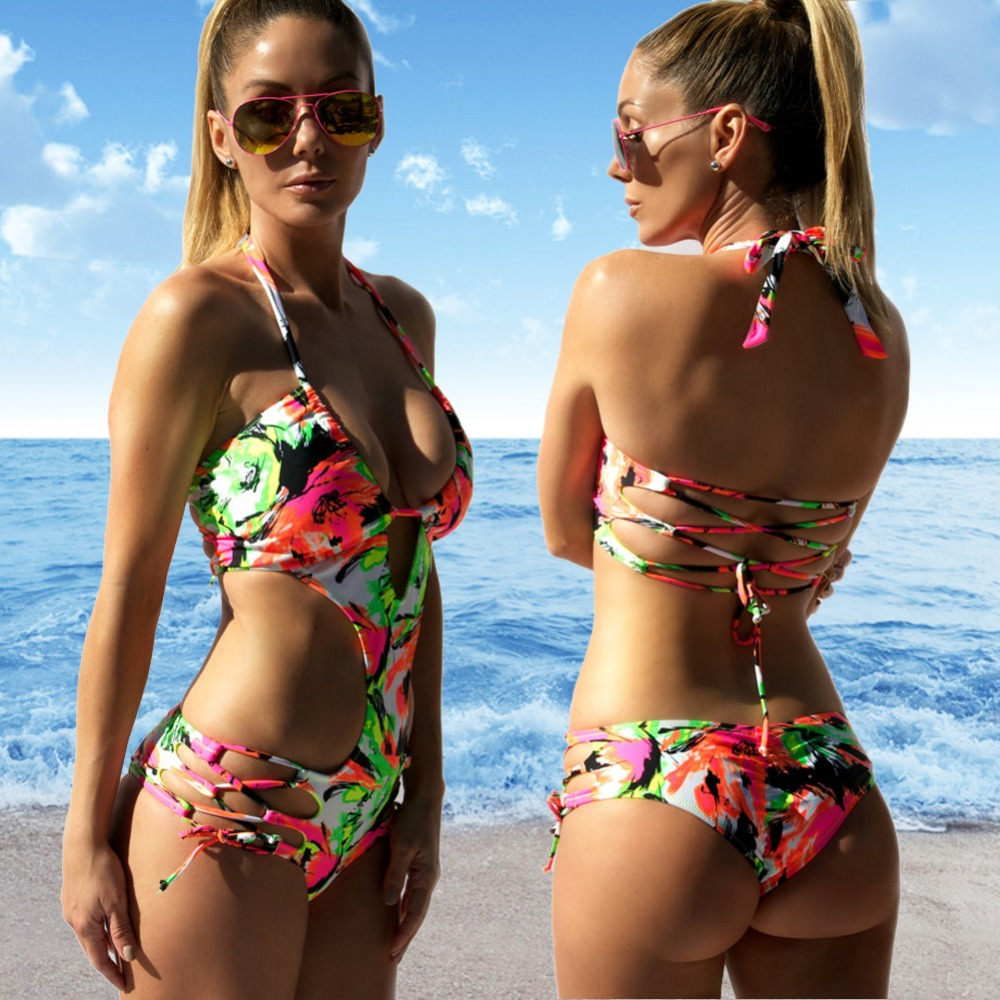 Sexy Trikini Triquini New One Piece Swimsuit Swimwear Women 2017 Floral Print Bathing Suit Bandage Monokini Thong Female s xl sexy one piece swimsuit thong swimwear women deep v neck bodysuit high cut monokini blackss trikini plus size bathing suit