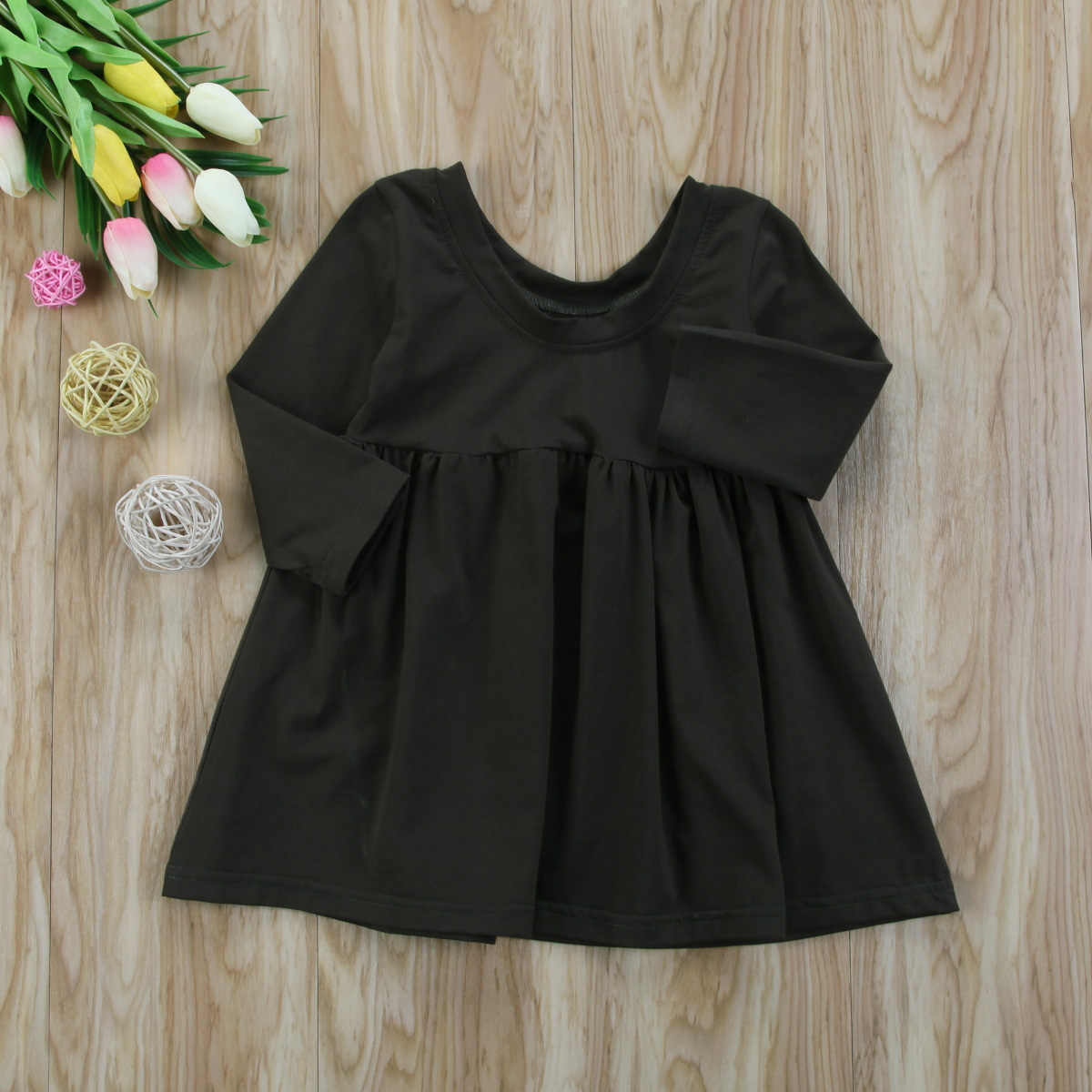 47f8e7461036 ... Toddler Baby Girl Kid Princess Backless Solid Simple Tutu Dress Xmas  Party New Fashion Dark green ...