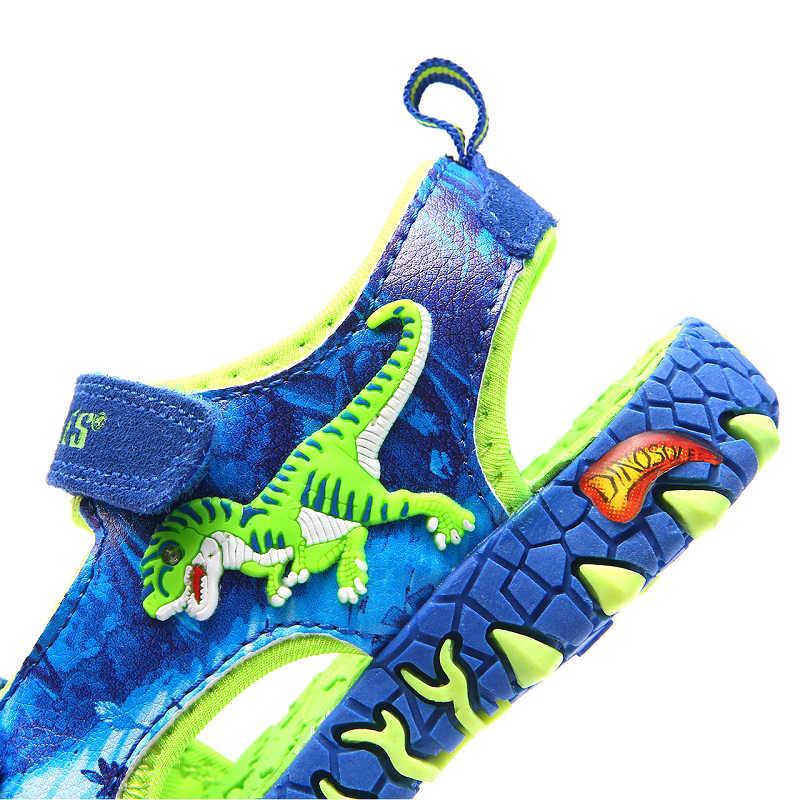 2019 בני סנדלי 3D דינוזאור ילדי קיץ נעליים אנטי להחליק לפעוטות ילד חוף סנדלי נגד השפעה הבוהן מזדמן ילדים של נעליים