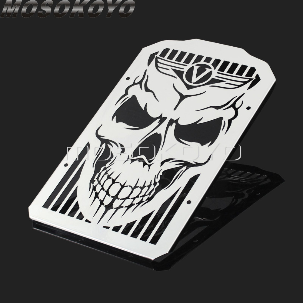 Cool Punk Style Skull Radiator Grill Skeleton Water Cooler Grille Guard Cover for <font><b>Kawasaki</b></font> <font><b>Vulcan</b></font> 900 <font><b>VN900</b></font> Classic Custom 06-14 image