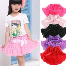 Kids Girls Multi-List Solid Color Petty Bow-knot Kids Children Dance Tutu Dress KB0061
