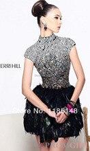 Sommer Verkauf! Sexy Feder Ein Halter Kleid für Prom Hand Perlen Kristall Cocktail Kleid Freies Verschiffen