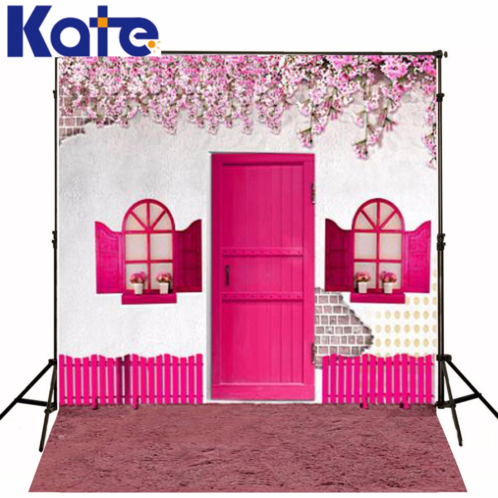 300CM*200CM Kate Photography Backgrounds Petunia Pink Fence Wall Plaster Doors Photography Backdrops Photo For Family LK 1196