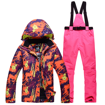 Men and Women Snow mountain Clothing Outdoor Sports snowboarding waterproof windproof winter Ski suit sets jacket and bib pant 1