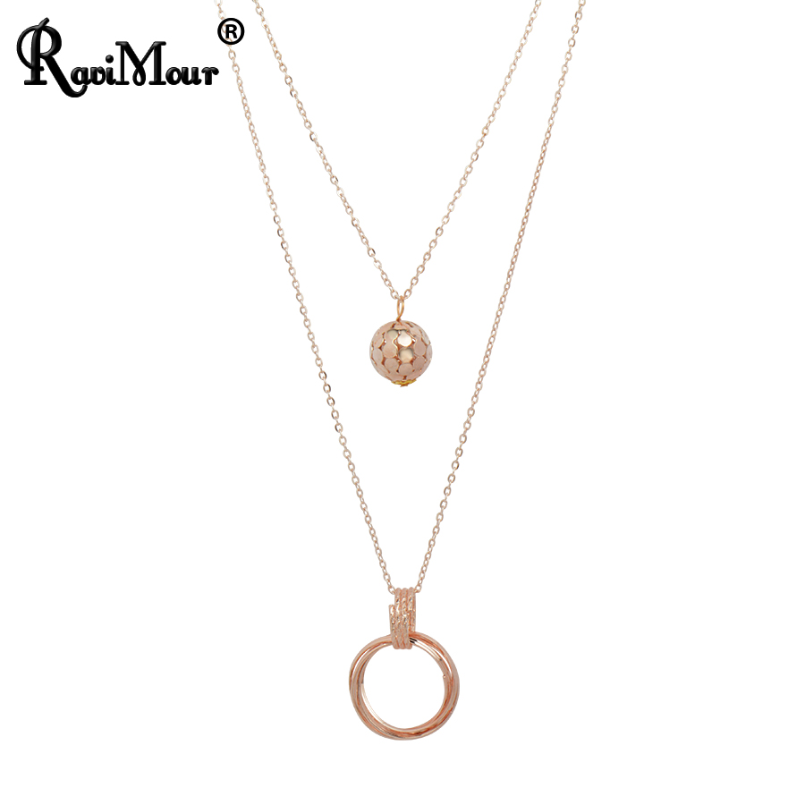 RAVIMOUR Double Chain Balls Circles Long Necklaces & Pendants Fashion Statement Colares Femininos Women Jewelry 2017