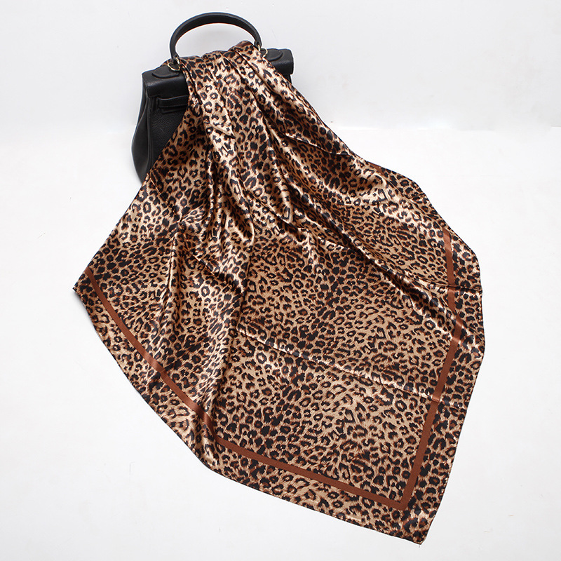 90*90cm Luxury Women Multifunction Polyester Silk   Scarf   Sexy Leopard Prints Patchwork Satin Small Square   Wraps     Scarves   Shawl