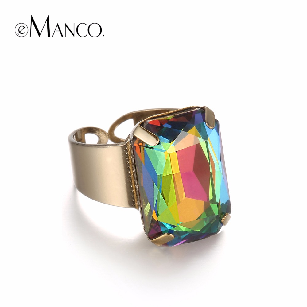 Rings: eManco 15 Color Popular Simple Cuff Open Statement Ring for Women Multicolor Crystal Opal Ancient Gold Plated Adjustable Jewelry