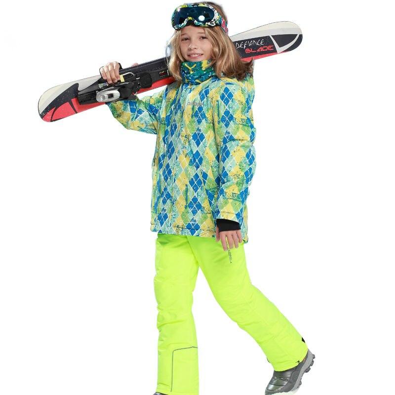 Phibee Boys Thick Ski Suit Waterproof Ski Jacket Ski Pants Snow Clothes Windproof -30 Degree Free Shipping phibee girls ski jacket windproof waterproof kids ski jacket 8015 free shipping