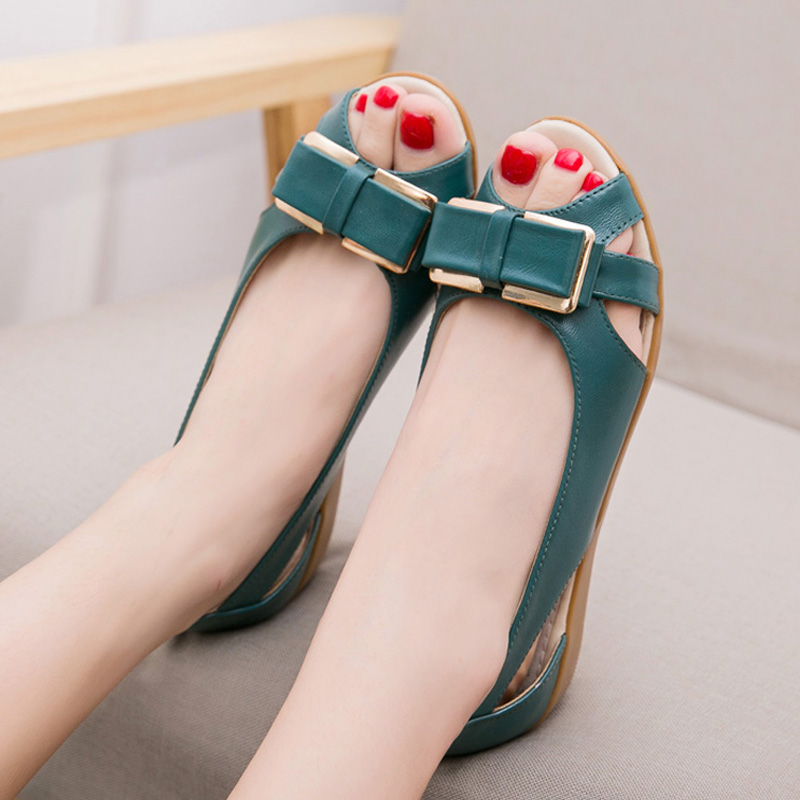 Buy Genuine Leather Women Sandals Cowhide Casual Shoes