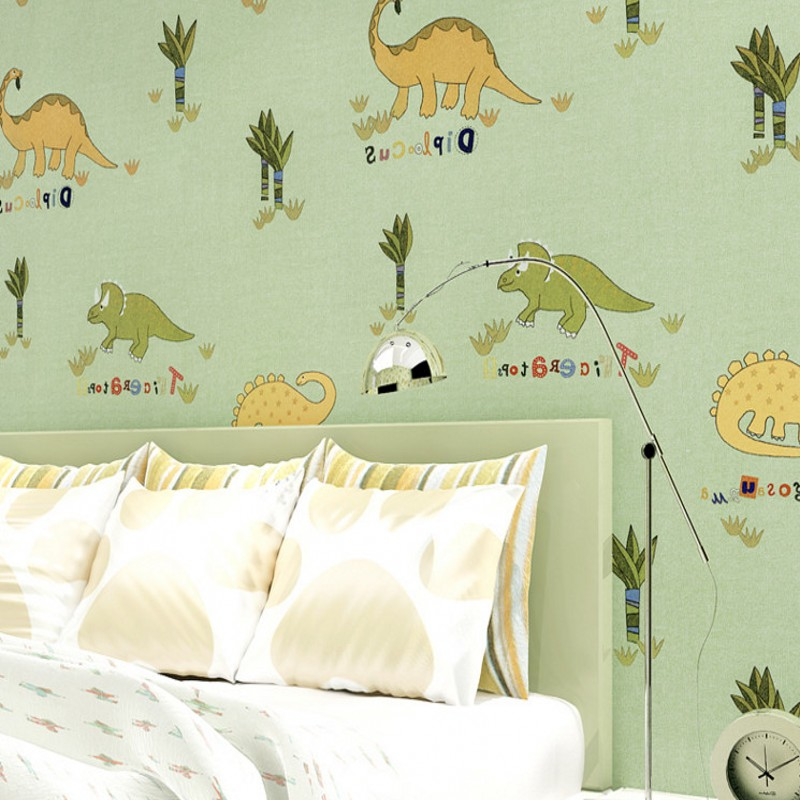 Free Shipping Children room dinosaur pattern environmental protection may wish cloth wallpaper green full wallpaper plus open front tassel trim kimono