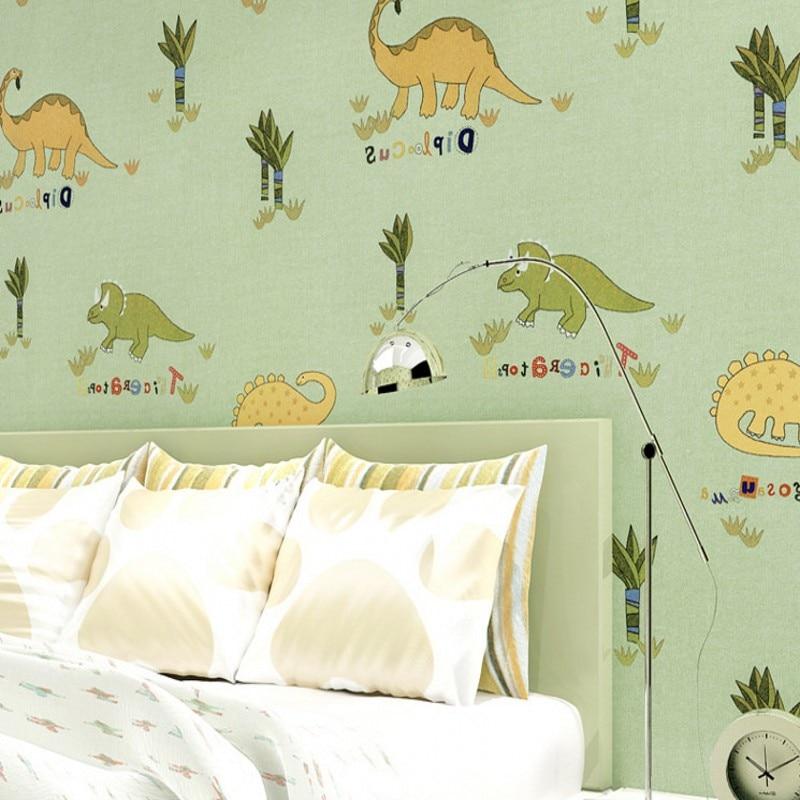 Livraison gratuite chambre d'enfants motif dinosaure protection de l'environnement peut souhaiter tissu papier peint vert plein papier peint
