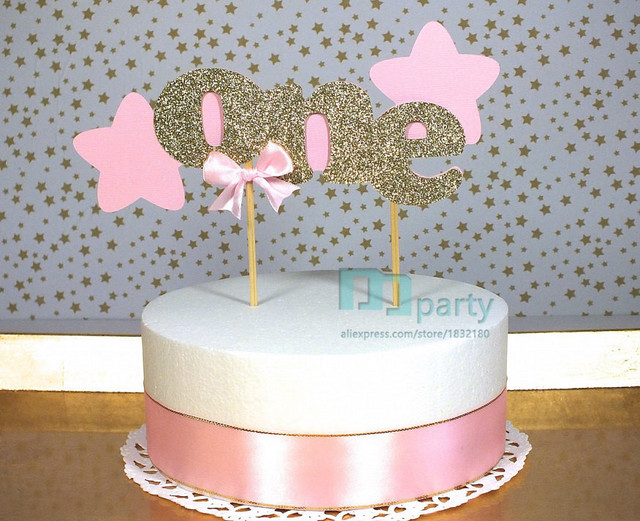 Twinkle Little Star Cake Topper Gold And Pink Blush