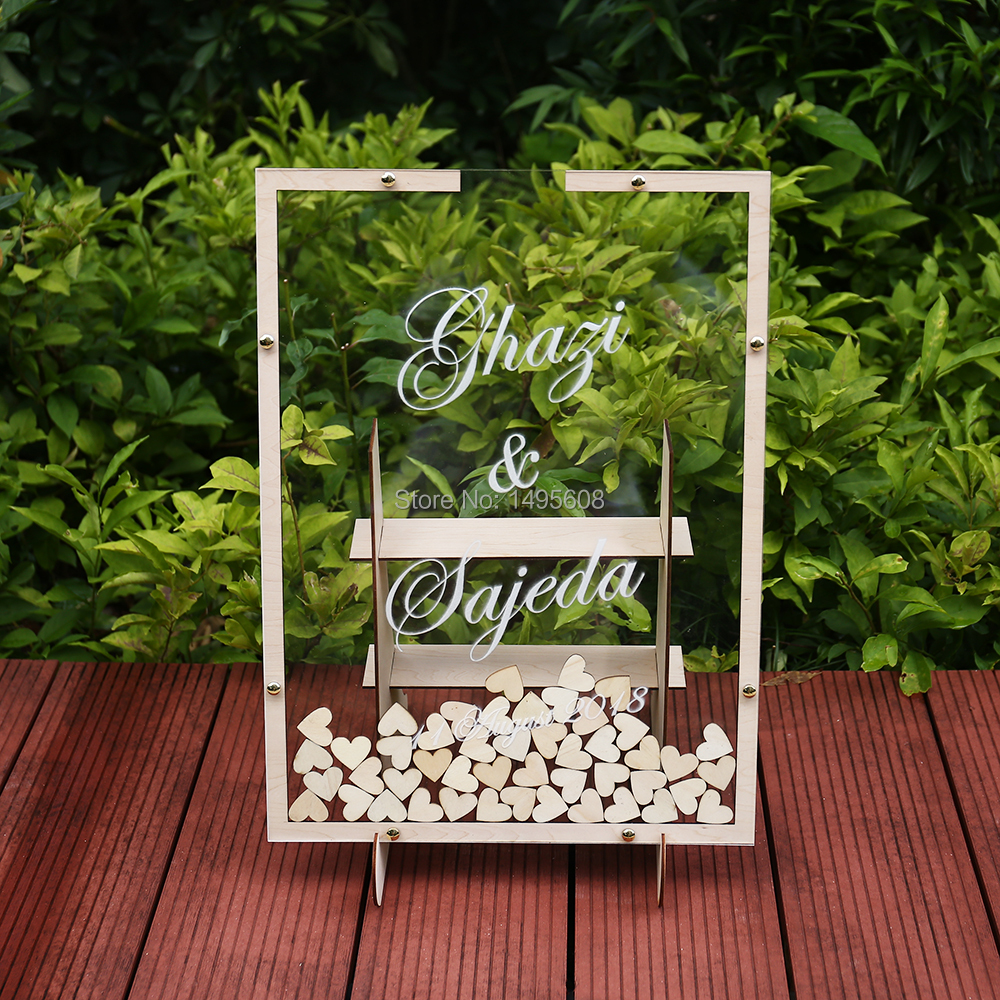 Wedding Pictures With Guest: Drop Box Acrylic Frame ,Wedding Dropbox ,Personalized