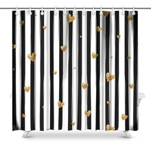 Black And White Striped Pattern With Gold Glitter Polyester Fabric Bathroom Shower Curtain Set Hooks