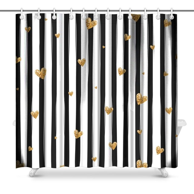 Black And White Striped Pattern With Gold Glitter Polyester Fabric Bathroom Shower Curtain Set Hooks 72 X Inches