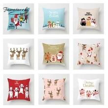 Fuwatacchi Cute Cartoon Cushion Cover Xmas Santa  Soft Throw Pillow Decorative Sofa Case Pillowcase