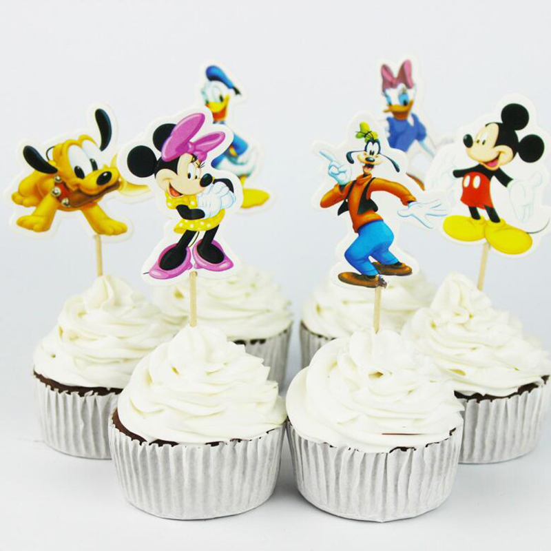 24pcs Cartoon Mickey Mouse Cupcake Toppers Picks Mickey Mouse Party Decorations Baby Shower Kids Birthday Party Supplies Favors