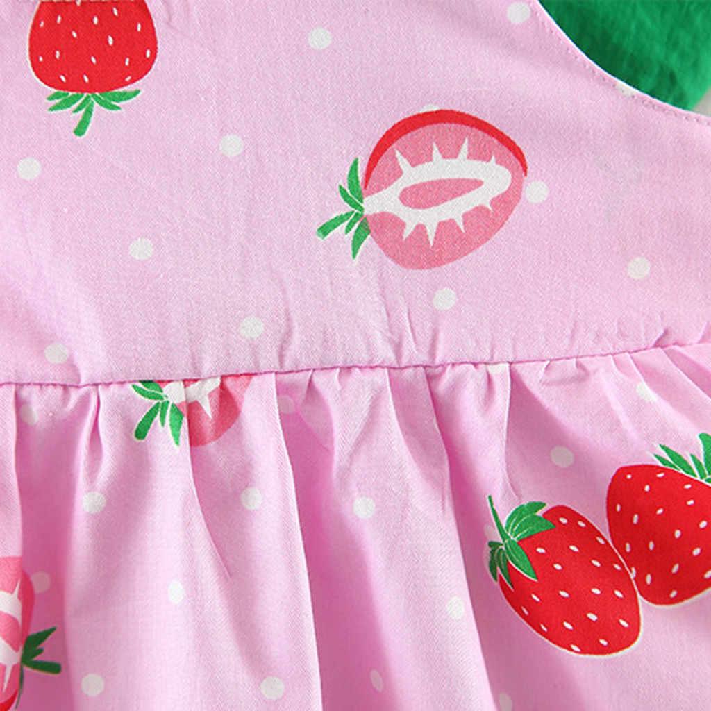 ARLONEET одежда для малышей с рисунком фруктов для девочек и принтом в виде Клубнички и платье принцессы Повседневная одежда для детей повседневная одежда для девочек детская одежда Костюмы P35