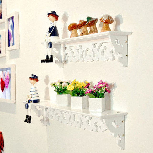 1pc Lot White Wall Hanging Shelf Goods Convenient Rack Storage Holder Home Bedroom Decoration Ledge Decor S M L