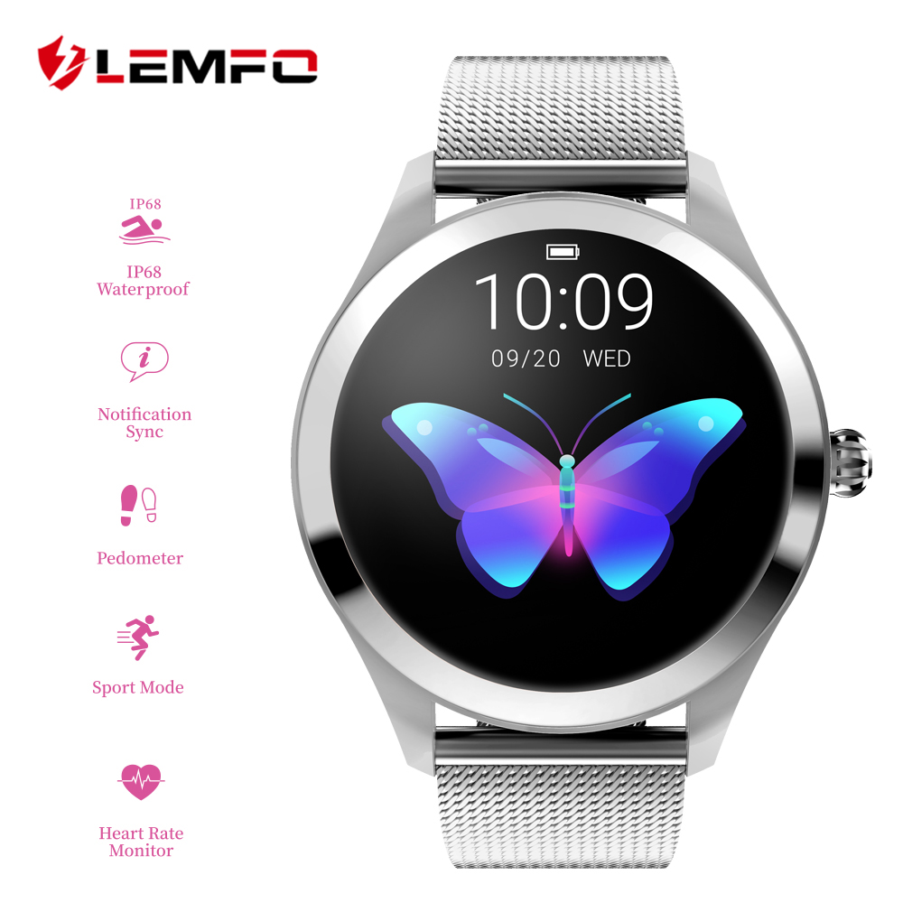 LEMFO KW10 Smart Watch Women 1 04 Inch Screen IP68 Waterproof Heart Rate Monitor Physiological Reminder
