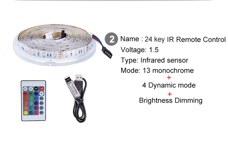 2835 SMD RGB USB charger LED Strip light DC 5V USB Cable LED Light lamp Flexible Tape 1M 2M 3M 4M 5M RF IR RGB Remote control (7)