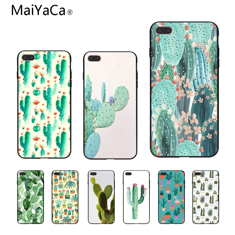 MaiYaCa Cactus Pattern DIY Painted Beautiful Phone Accessories Case For Apple iphone 5 5s 5c SE And 6s 7 8 Phone case