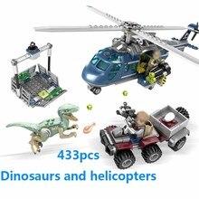 hot deal buy 433pcs compatible 75928 brand toys jurassic park 2 raptor blue helicopter chasing block set