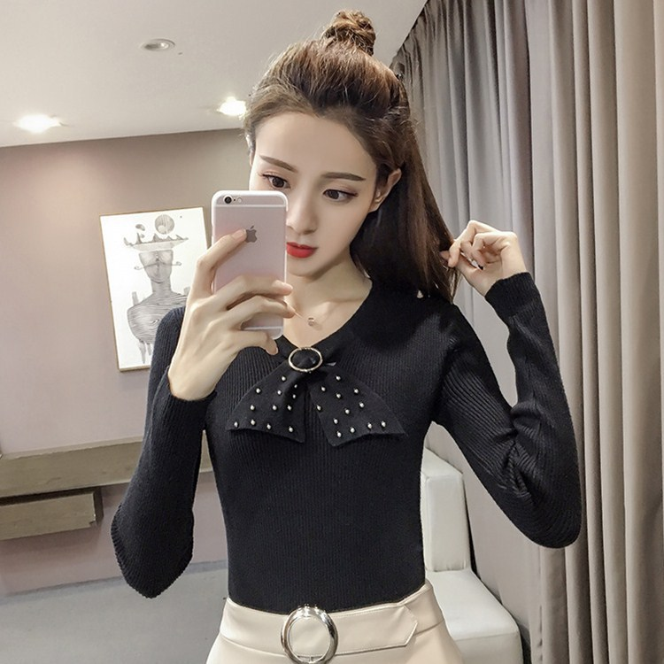 New Autumn Pure Sweater sky black Jacket 2017 Yarn Spun Bead Nail Core blue Blue Suit Beat Real Beige Color wvqX0H0