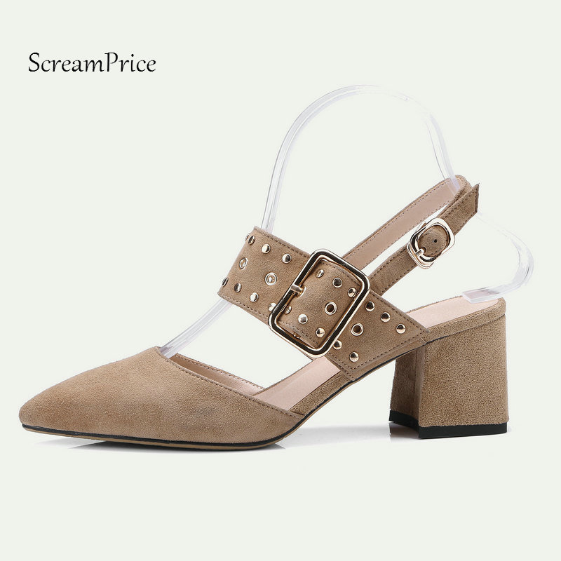 Summer Comfort Square High Heel Pointed Toe Suede Woman Sandals Fashion Buckle Dress High Heel Shoes Woman Black Khaki drop shipping 2017 summer new women fashion suede khaki black tassel buckles rough heel open toe high heel party sandals shoes