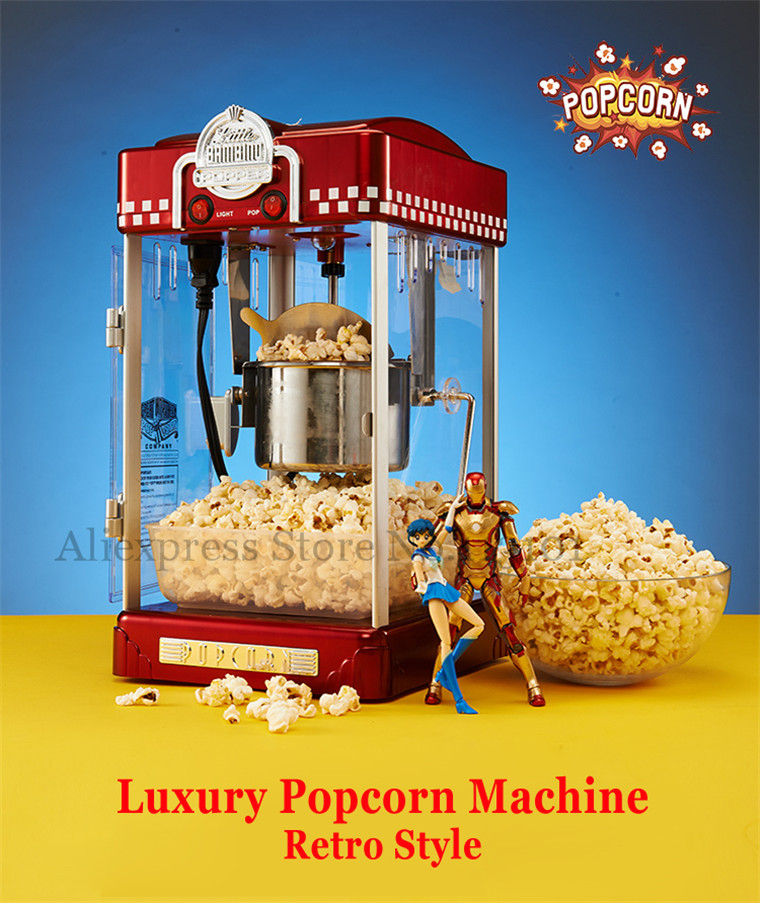 Popcorn Machine 2.5oz Retro Style Popcorn Popper Small Popcorn Maker Machine Electric Heating Corn Popper pop 08 commercial electric popcorn machine popcorn maker for coffee shop popcorn making machine