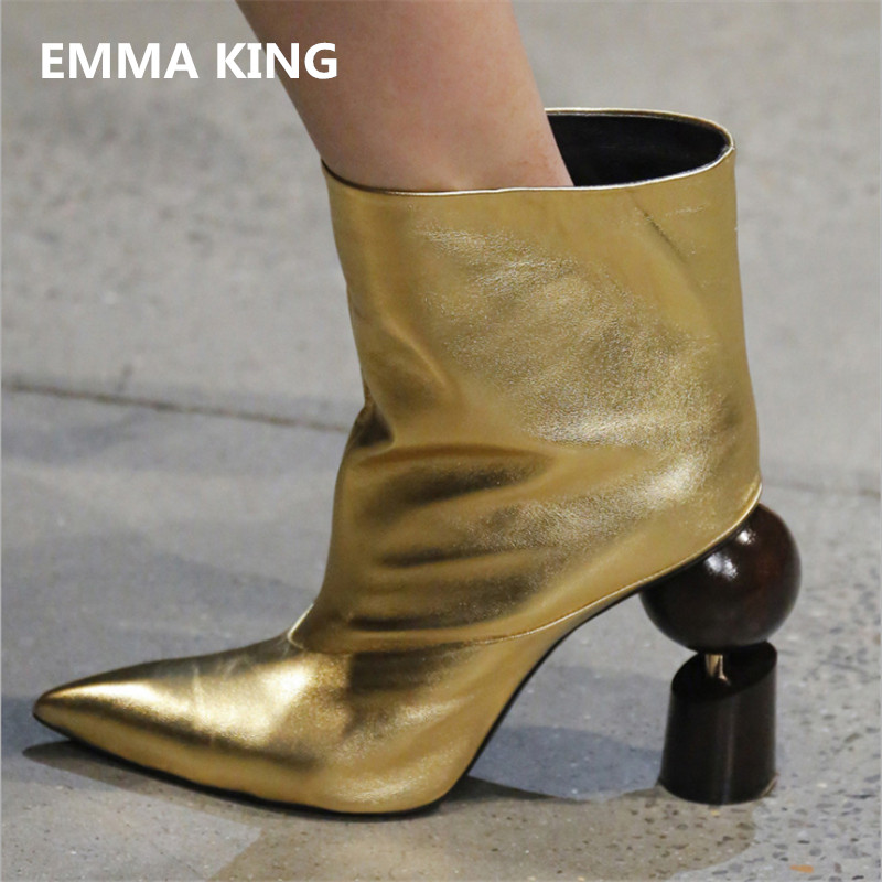 EMMA KING New Fashion Design Women  Strange Heels Short Boots Slip-on Pointed Toe Stage Party Shoes Women Plus Size 35-45EMMA KING New Fashion Design Women  Strange Heels Short Boots Slip-on Pointed Toe Stage Party Shoes Women Plus Size 35-45