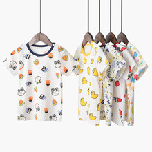 Summer Cartoon Print T-Shirt For Kids Boys O-Neck Short Sleeve Baby Girls T-shirts Cotton Children T-shirt Tee Tops Boy Cloth kids fashion summer baby milo t shirt children cotton tee shirts cute cartoon summer sotton short sleeve t shirt for boys girls