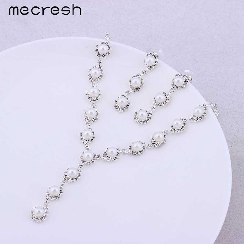 Mecresh Simulated Pearl Wedding Jewelry Sets Silver Color Necklaces & Earrings Sets Gorgeous Crystal Bridal Accessories TL059