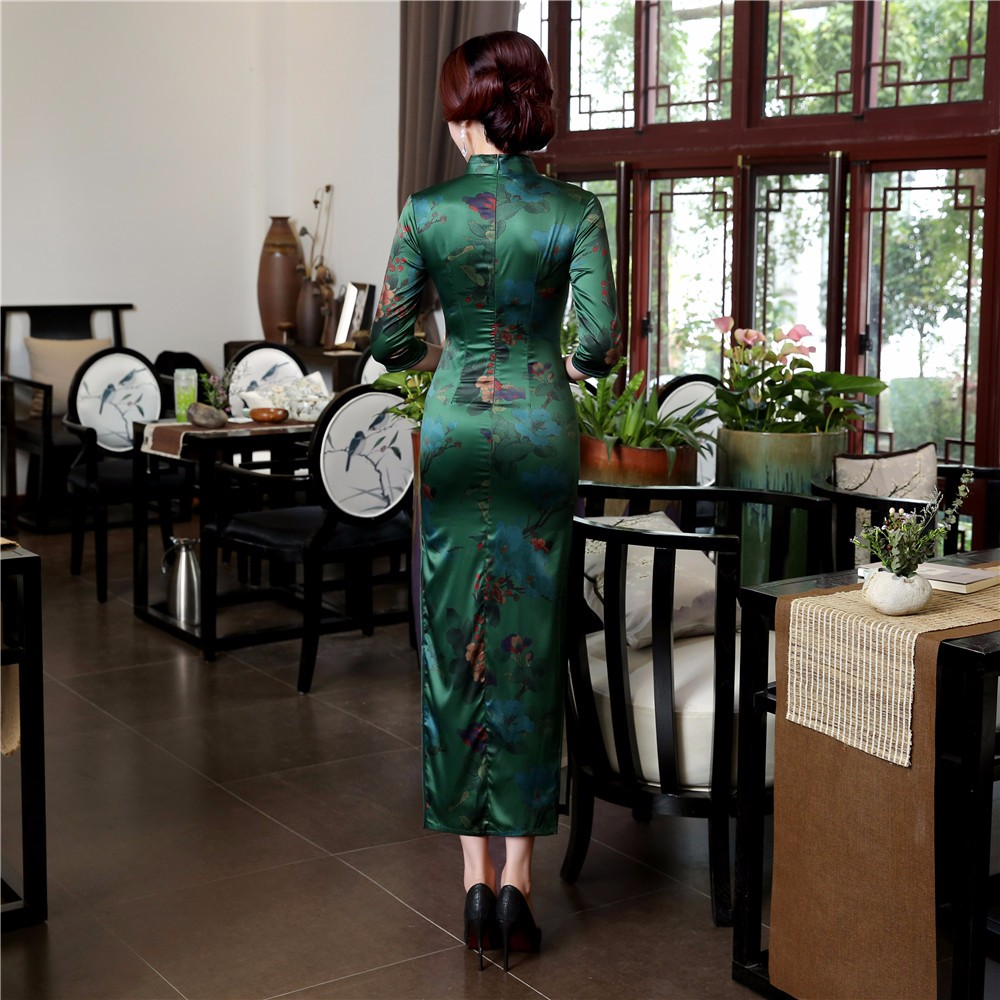 High Quality Silk Chinese Women Dress Sexy Long Sheath Cheongsam Qipao Elegant Print Flowers Dresses S M L XL XXL XXXL - 2