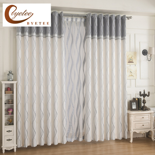 Byetee Modern Striped Room Window Curtain Fabrics Kitchen Curtains For Bedroom Living