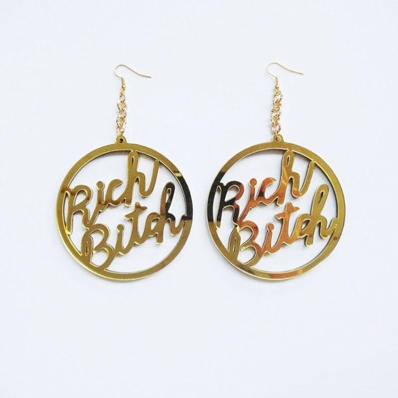Hip Hop Earrings: Rich Bitch Earrings Big Round Earrings Hip Hop Earrings
