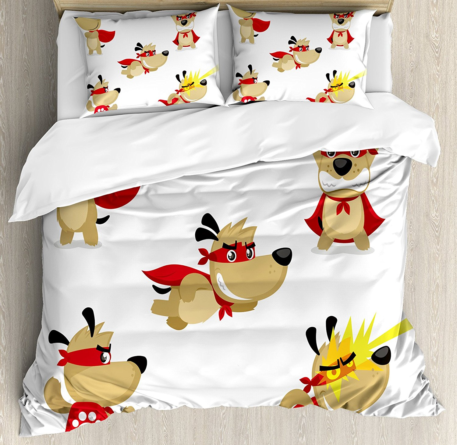 Duvet Cover Set, Superhero Puppy with Paw Costume and Mystic Powers Laser Vision Supreme Talents,4 Piece Bedding Set