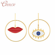 CANNER 2019 New Drop Earrings for Women Evil Eye Lip Fashion Statement Earring Big Geometric Round Circle Party Jewelry