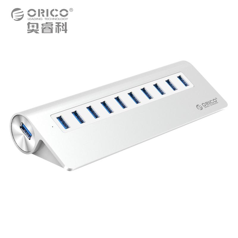 Prix pour 10 Port Hub ORICO Aluminium SuperSpeed USB 3.0 Hub avec 1 m Câble USB Vl812 Chipsets 36 W Puissance Adaptateur pour iMac MacBook PC ordinateur portable